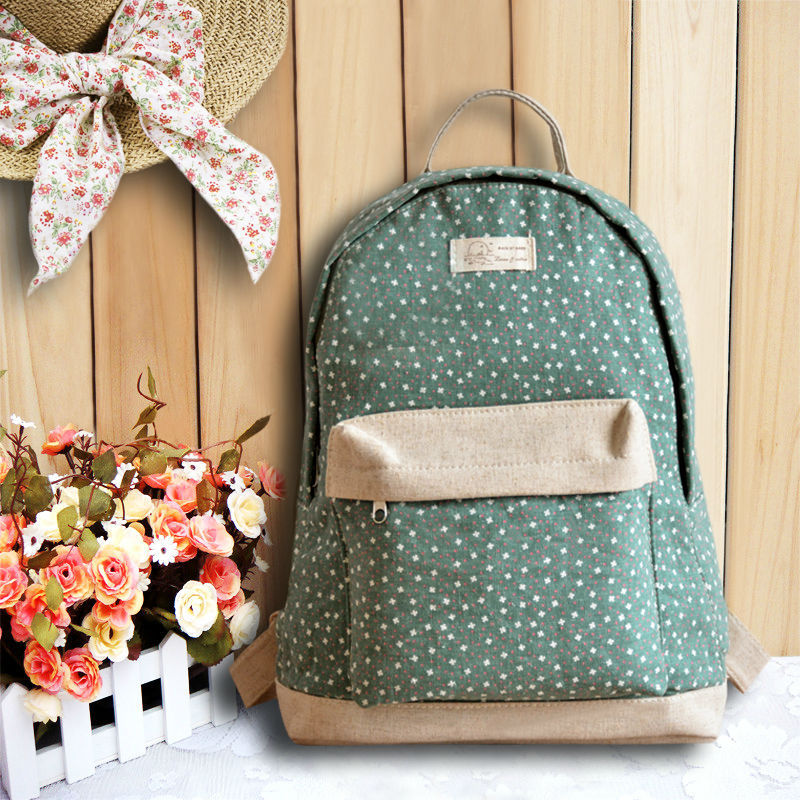 2015 New Hot !!! Printing Backpack Students School Backpack School Bag 100% Linen Backpacks For Teenage Girls(China (Mainland))