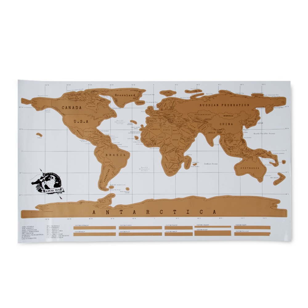2015 New Arrival Scratch World Travel Map Decorative Poster Geography Teaching Fun Toy Creative Gift For Friends(China (Mainland))