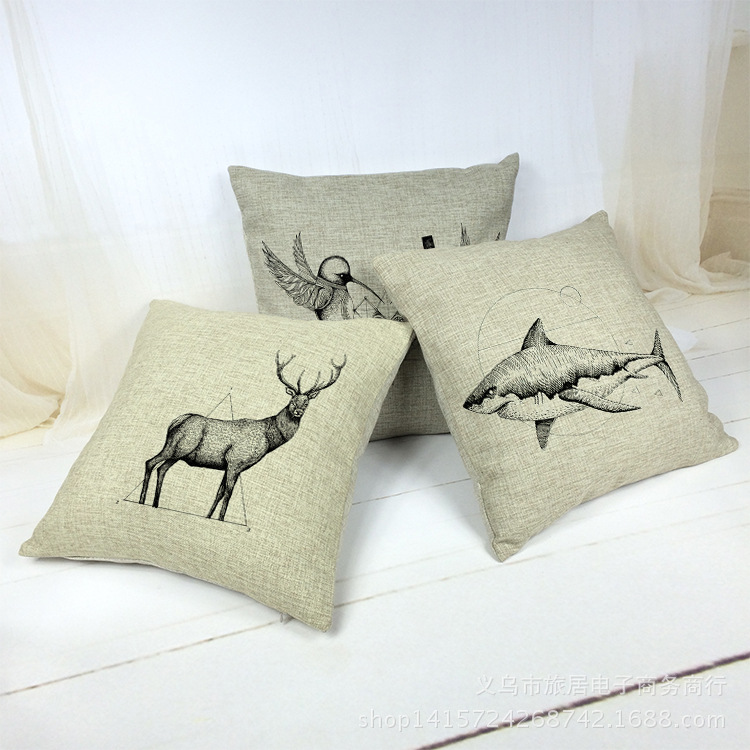 Deer Fish Shark Decorative Pillowcase Sofa Decor Cushion Cover Throw Pillow Case Sham Outdoor Almofada Chair Coussin Car Cojines