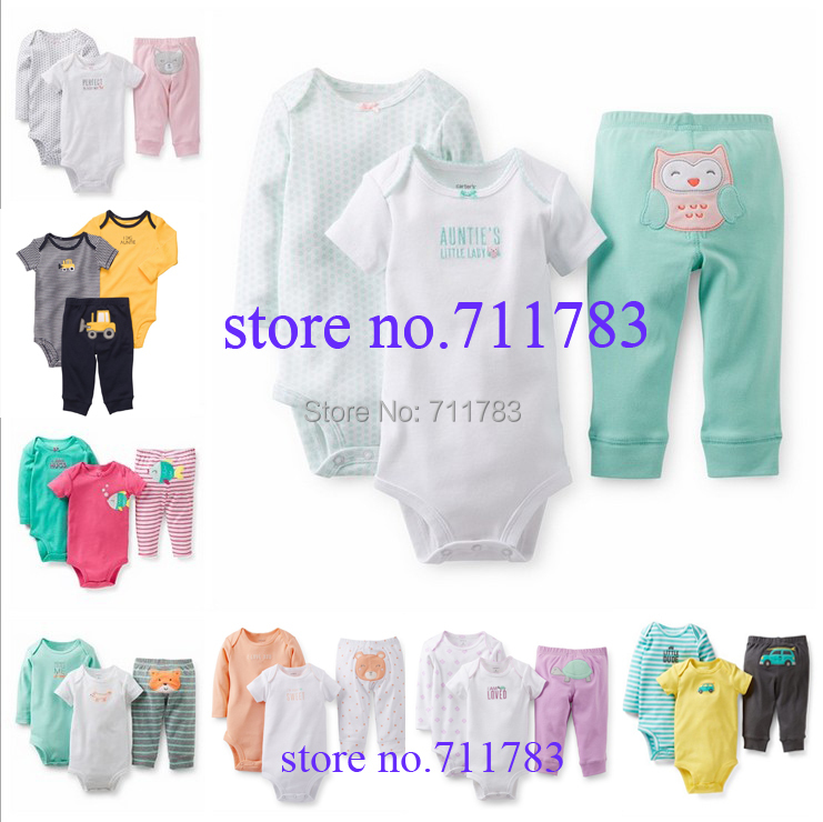 Retail Carter's Baby Boys and Baby Girls Short & Long Sleeve Bodysuit +Pant Clothes Set, Carters Baby Clothing Set, freeshipping(China (Mainland))