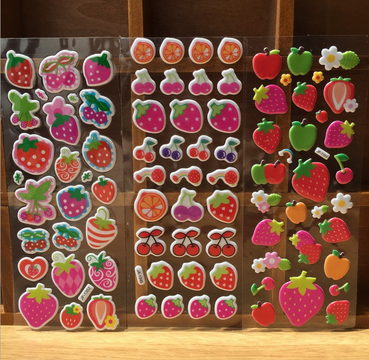 5 Sheets Special Scrapbooking Bubble Puffy Stickers Kawaii Fruits strawberry Kids Children Toys stickers(China (Mainland))