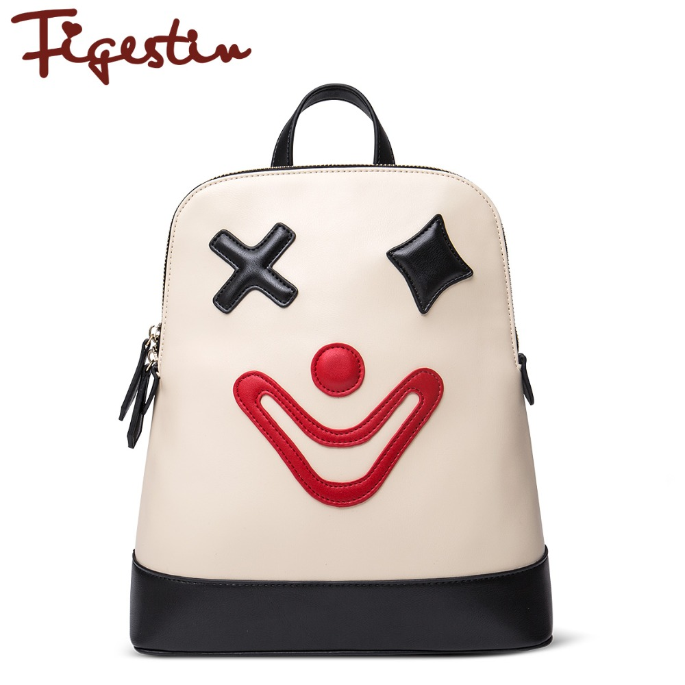 FIGESTIN 2016 New Teenager Girls Leather Cute Backpacks Cartoon Clown Patchwork School Backpack Women Original Design White(China (Mainland))