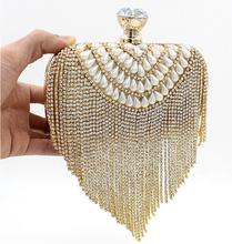 NEW Tassel Rhinestones Clutch Women Evening Bags Beaded Luxury Ladies Handbags Pearl Golden Vintage Evening Bag