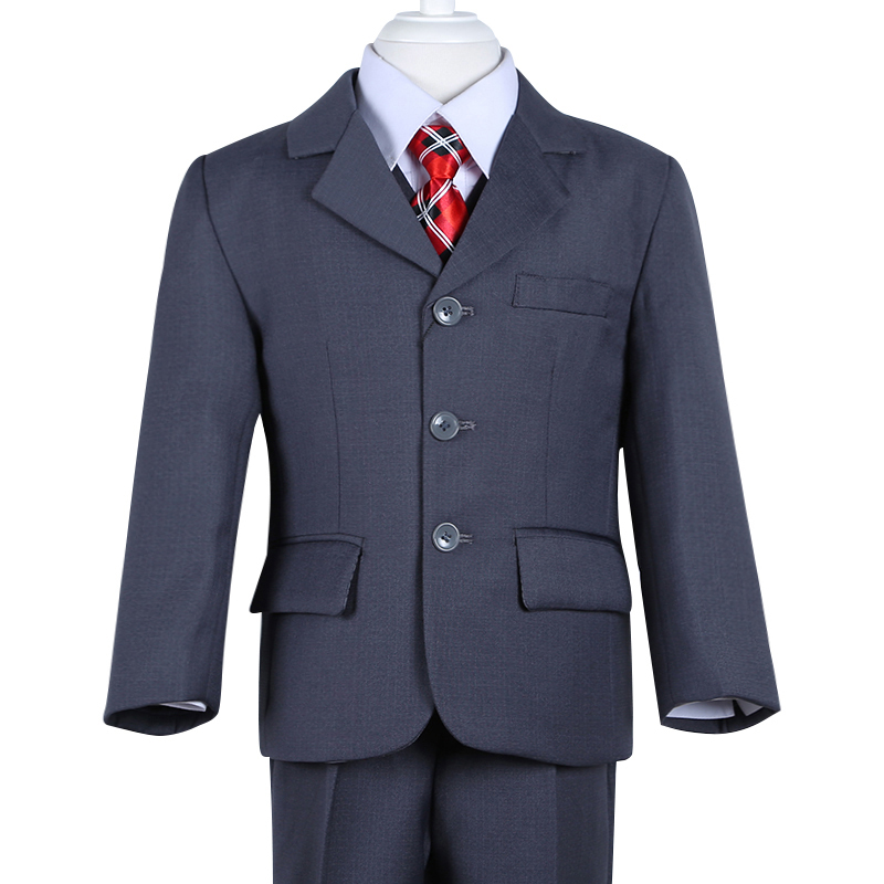 2015 new fashion high quality three pcs solid grey formal boys wedding suit(China (Mainland))