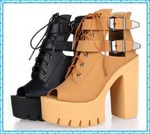 buckle summer shoes fashion platform shoes woman high heels open toe sandals for women shoes 2016 ladies peep toe pumps C861