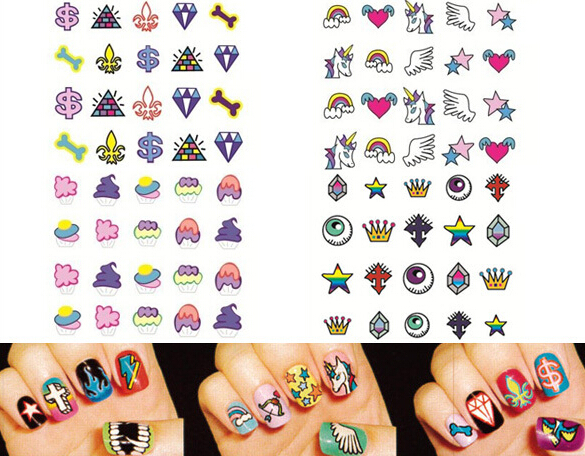 4 Sheets /Set Nail Art Sticker Decorations Stickers on Nails Design Beauty Tools(China (Mainland))