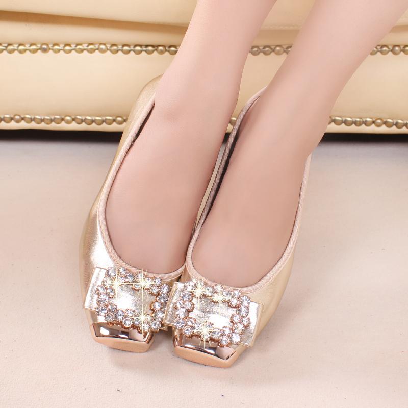 Spring Autumn Rainestone Flats Women Fashion Boat Flat Heel Shoes Casual Brand Plus Size 42 EURO - Happy hour 100% store