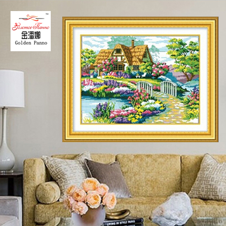 Needlework DIY DMC Cross stitch Sets For Embroidery kits scenery clock home decro Counted Cross Stitching