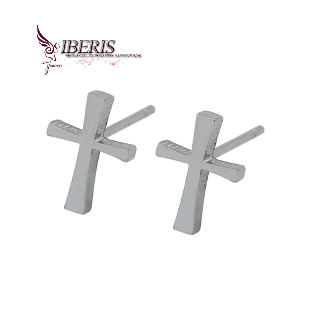 2016 new fashion stainless steel, silver plated cross earrings everyday wear men's - yue oneself Xiaopu store