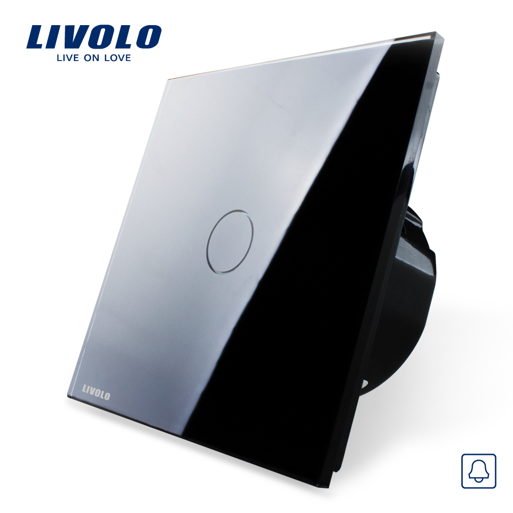 Free Shipping, EU Standard,Livolo VL-C701B-12, Touch Screen Wall Door Bell Switch With Crystal Glass Switch Panel(China (Mainland))