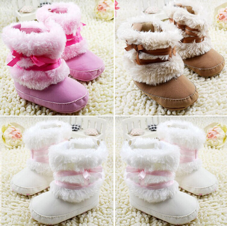 Free-Shipping 2015 Brand Newborn Baby Infant Girls Warm Bowknot Snow Boots Crib Shoes Toddler Warm Fleece Prewalker Boots(China (Mainland))