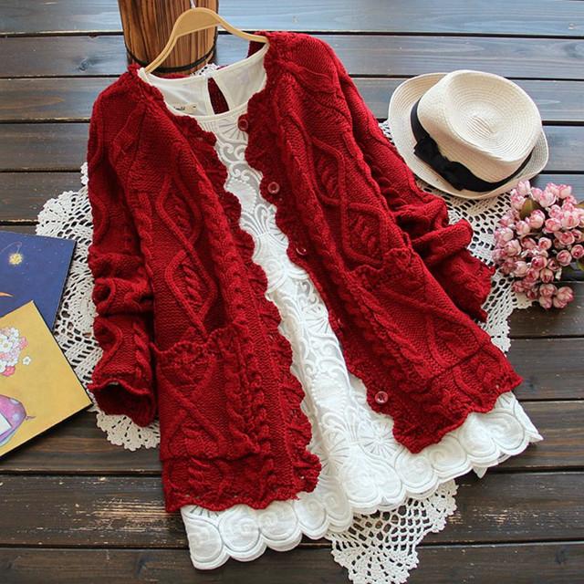 Осень зима мори девушка стиль Большой размер женщины кардиган сплошной цвет свитера ...