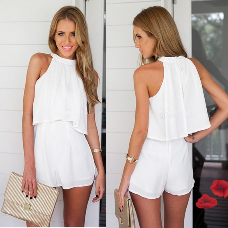 Sanwony Women Summer Casual Halter Chiffon Sleeveless Sexy Two Piece Sets White Shirt&Pants White Plus Size(China (Mainland))