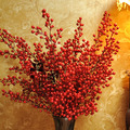 Free shipping Red berry floor long artificial flower red rich fruit artificial flower silk flower home