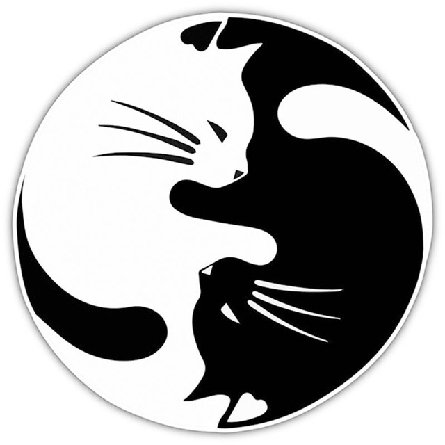 8 Colors Yin And Yang Cat Pet Lover Car Sticker For Truck Window Bumper Door Vinyl Decal