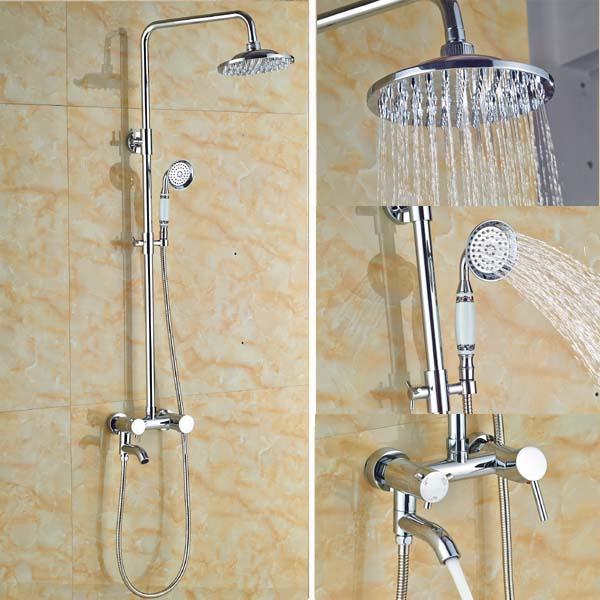 "Wall Mounted 8"" Rain Bathroom Shower Faucet Set Shower Mixer Tap Set Shower Column Chrome Finish(China (Mainland))"