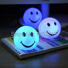 Night light Lovely changable color Round Smile Face LED  lamp, 7 colors changing Smiling nightlight For Baby / Children gift toy(China (Mainland))