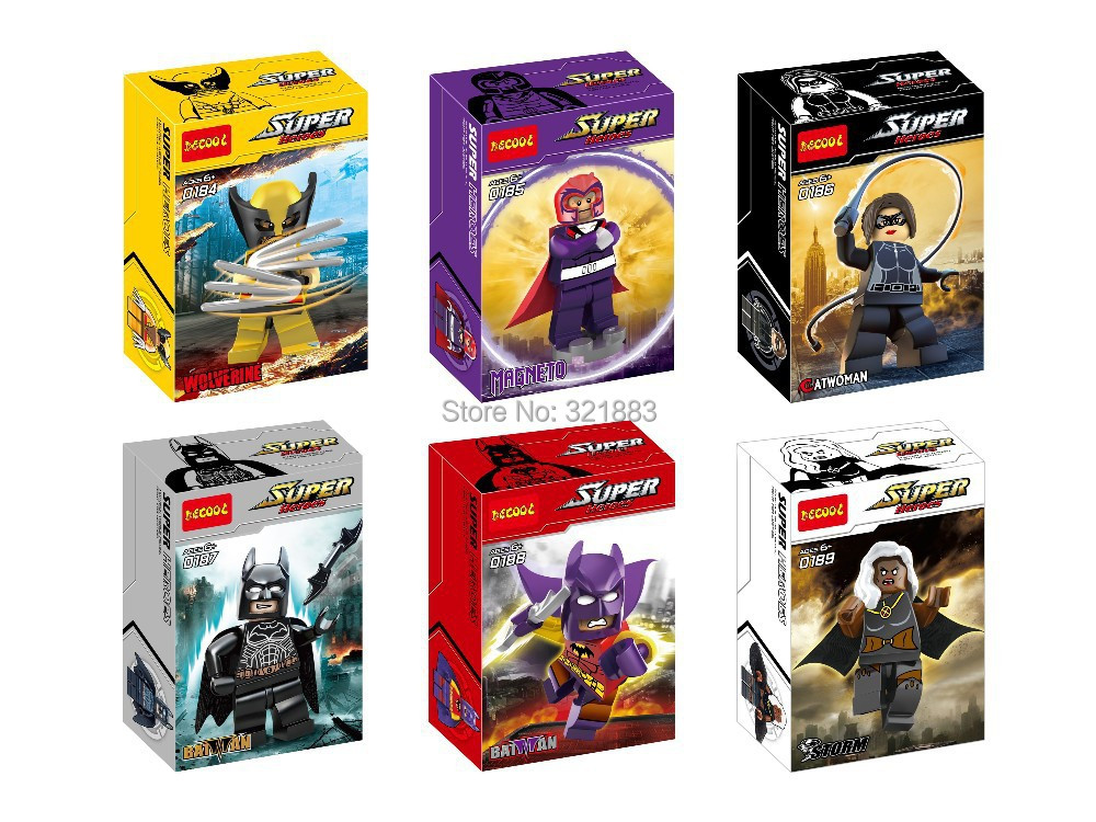 9Decool 0184-189 super hero wolverine Magneto catwomen storm Action Figures Building Blocks Bricks Minifigures - F & C Store store