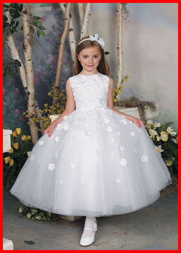 2015 Cheap Hand Made Flower Girls Dresses For Weddings Tank Top Tea Length White Color Custom Formal Kids Dress Wear For Event(China (Mainland))