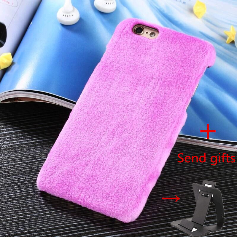Furry Plush case For iPhone 6 6S For iPhone 6 Plus 6s Plus inch Cell Phone Winter Warm Back Cover Mobile Phone Case + Send gifts