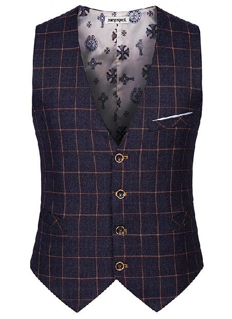 Male cotton plaid slim dress vests Men's casual sleeveless formal business jacket suit vest Men waistcoat coat Gilet Homme yelek(China (Mainland))