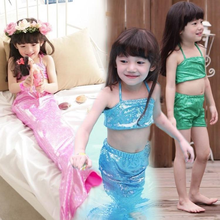 Swimsuit For Girls Solid Kids Mermaid Tails Rushed Girls Swimwear 2015 New Bikini 3pcs Suit Children Toddler Swimsuit Bathing(China (Mainland))