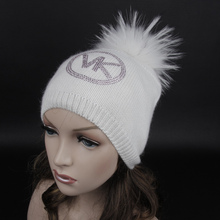 Free shipping Warm winter hat Personalized fashion hats Cashmere hat With rhinestones .Animal hair ball cap. Fur pompom Beanies(China (Mainland))