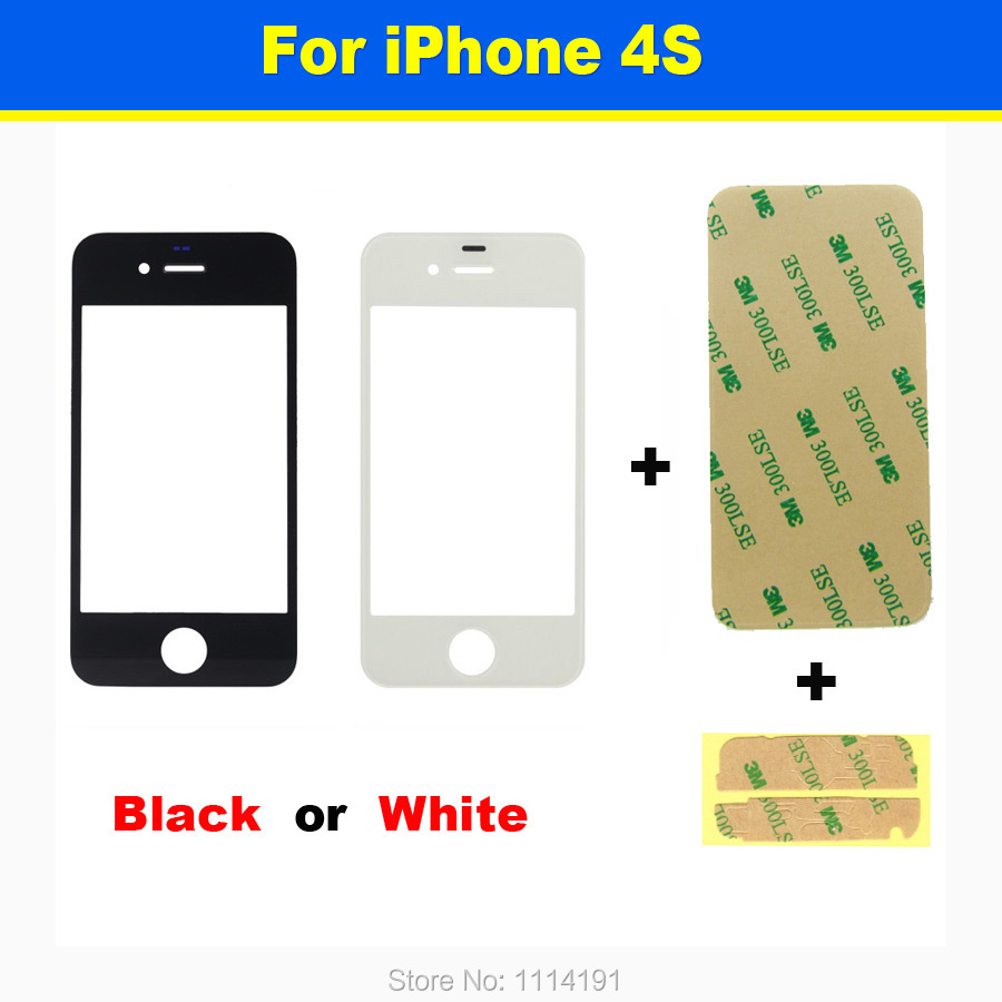 Free Shipping BLACK WHITE for iPhone 4S LCD Touch Screen Digitizer Front Outer Phone Glass Lens Replacement + 3M Sticker(China (Mainland))