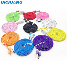 Buy 100pcs/lot 2M/6FT flat noodle nylon weave 5pin Data Sync charging micro usb cable Samsung Huawei HTC LG Letv smartphone for $78.50 in AliExpress store