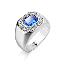 Crazy Sale Inlay Austria Blue Crystal With Small Rhinestone Setting Men Ring,Wedding Gold Ring Designs For Men Fine Men Jewelry(China (Mainland))