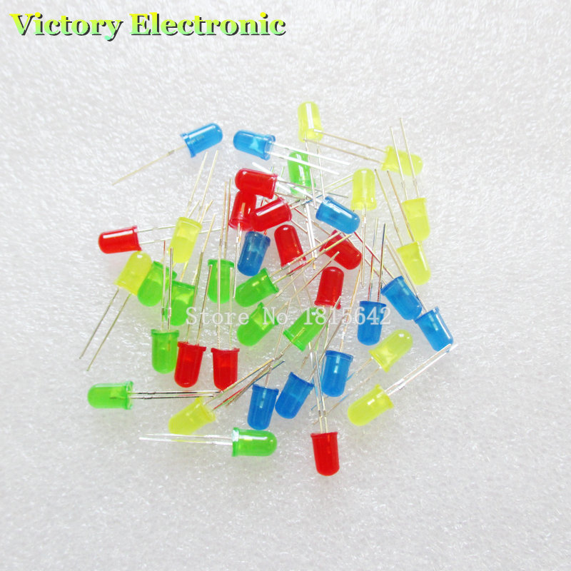40PCS/Lot 5MM LED Set Mixed Color Red Green Yellow Blue LED Diode Kit Wholesale(China (Mainland))