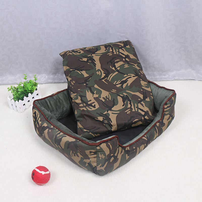 Trendy Soft Warm Pet Nest Cats Bed Jungle Camouflage Sofa Dog Bed Mat House Cheap Cozy Rectangle Puppy Teddy Square Pet Bed(China (Mainland))
