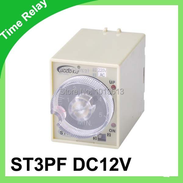 Power off delay timer 12volt 8pins time relay 0~60 second ST3PF(China (Mainland))