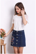 Buy High Waist Women Jeans Single Breasted Fashion jeans A-Line jeans skirts embroidery flower vintage mini skirt for $12.82 in AliExpress store