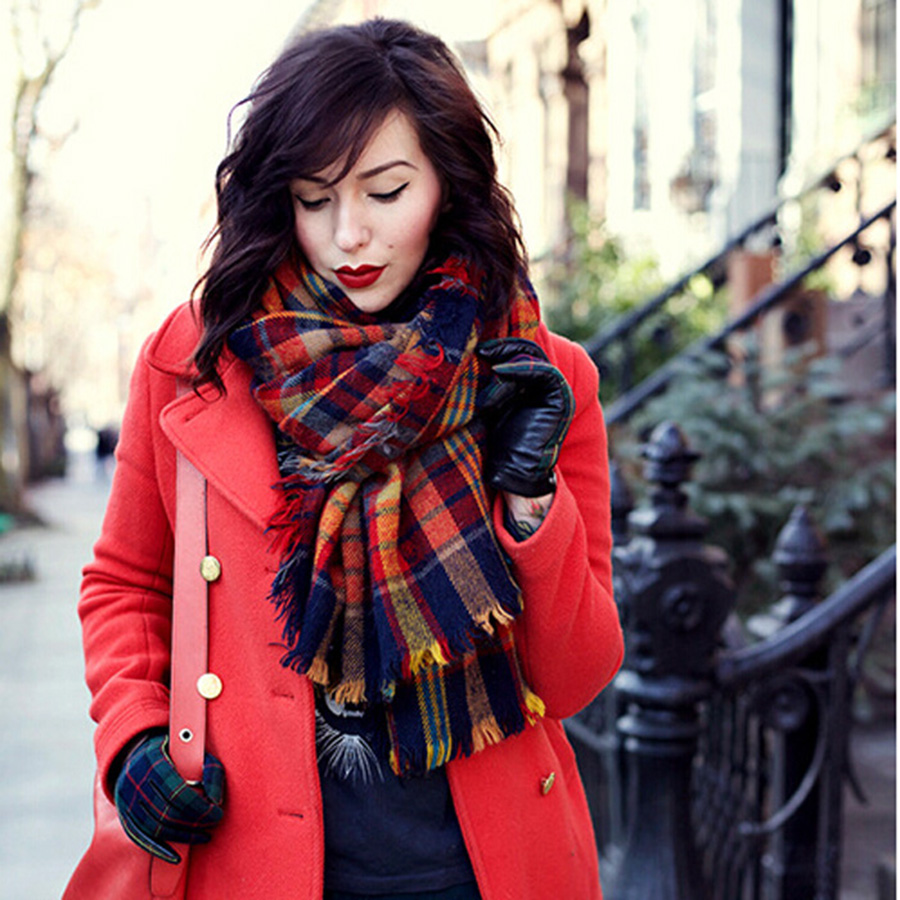Winter Autumn Vintage Colorful Plaid Scarf font b Tartan b font Scarves with Tassels women Thick