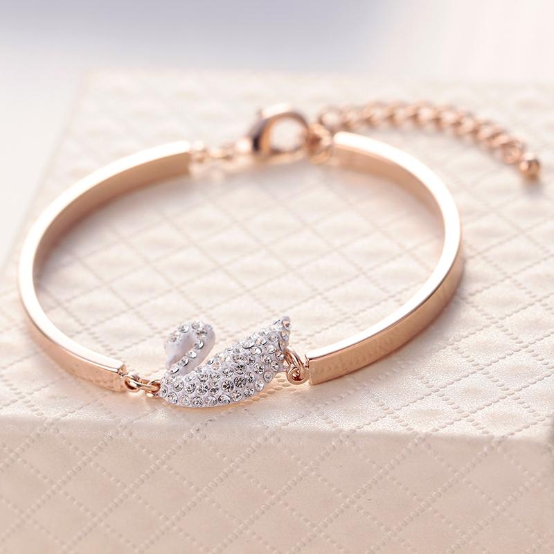 2016 New Fashion Swan Bracelets For Women Golden Hand Chain bracelets & bangles Girl Gift Free shipping(China (Mainland))