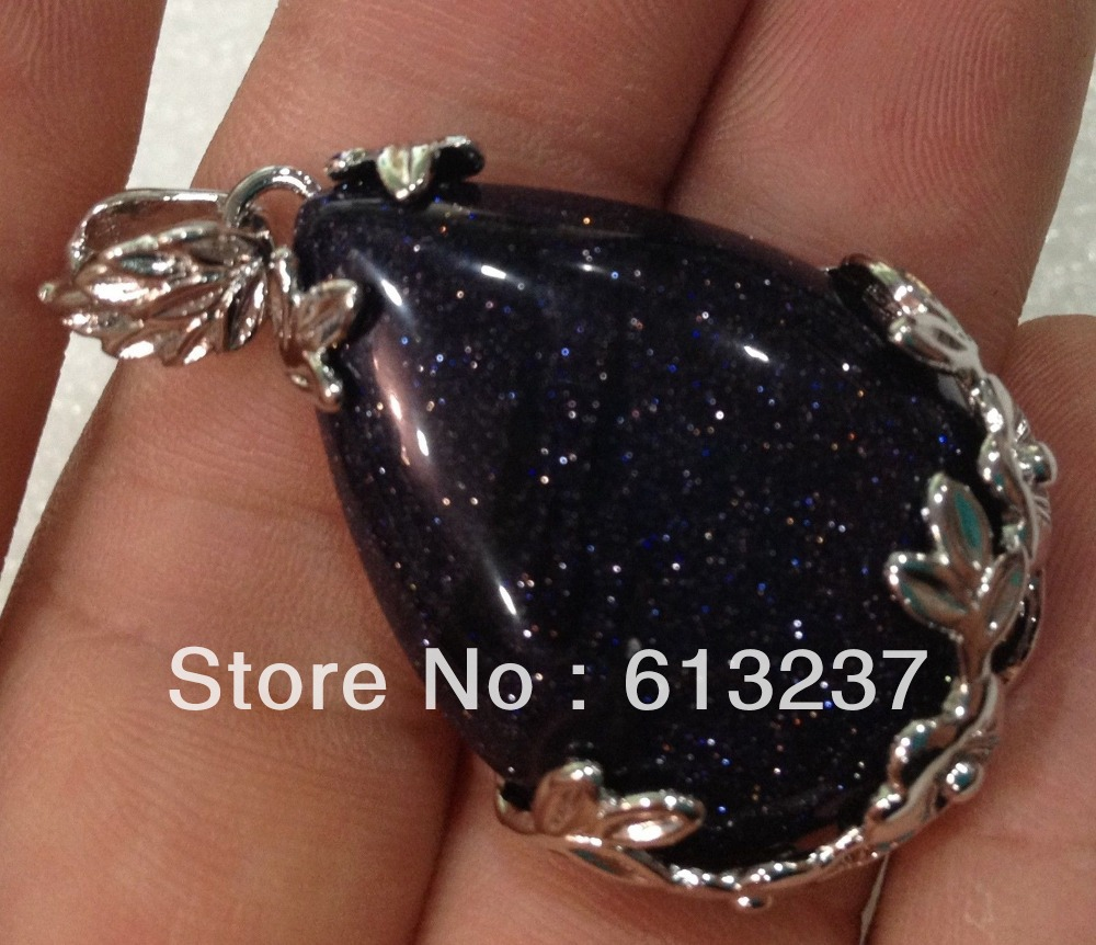 hot free Shipping new 2014 Fashion Style diy Natural BLUE GOLD STONE SAND STONE BEAD PENDANT 18KGP MY5220(China (Mainland))