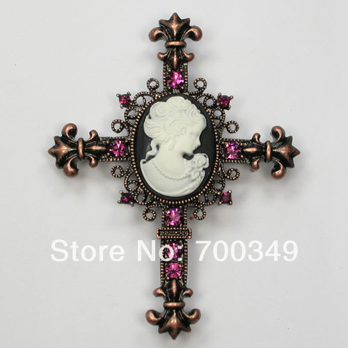 Wholesale 12piece/lot Amethyst Crystal Rhinestone Cameo Cross Costume Apparel Pin Brooches &amp; Pendant Chain C912 D<br><br>Aliexpress