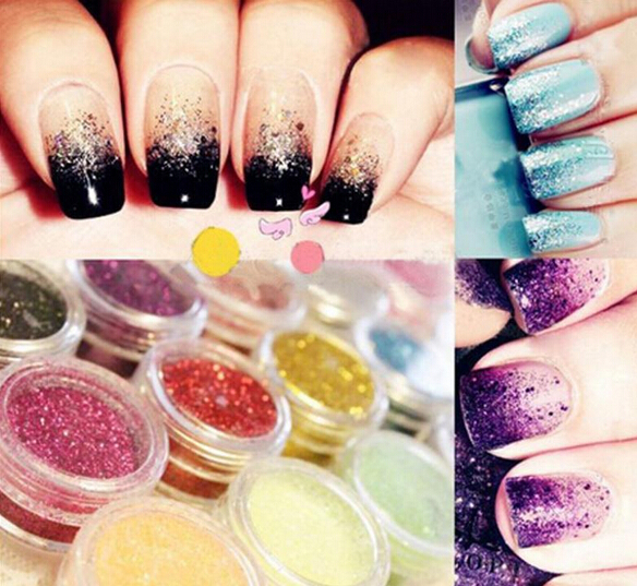 12 pcs/lot Nail Glitter Polish Sparkly Dust powder Nail Art Tip Decoration gel UV Free shipping 2015 Hot(China (Mainland))