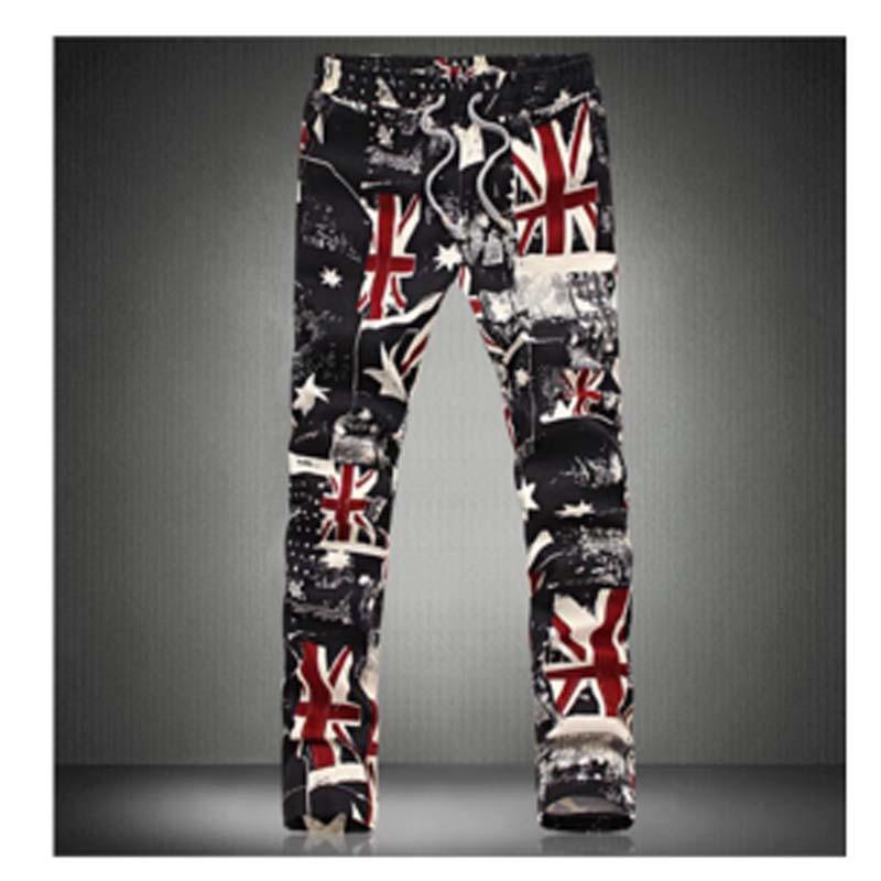 Men Jeans 2015 New men's Union flag jeans Famous Brand Men Skinny Trousers Stretch Slim Fit Mens Print Jeans Painted Pants