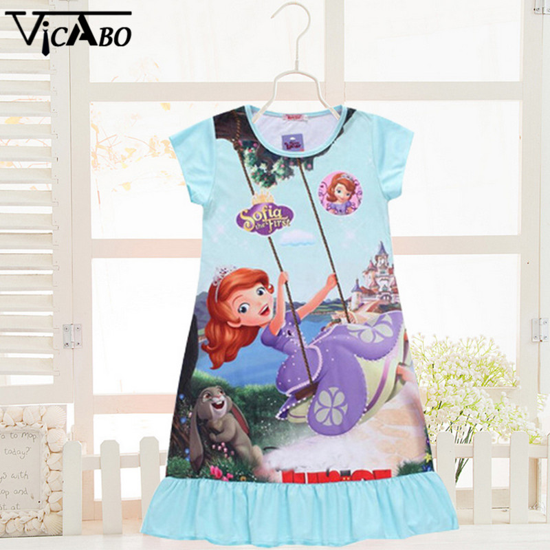 New Summer Kids Dress Children Cinderella Snow White Rapunzel Princess Sofia Dresses For Girls Children's Costumes Short Sleeve(China (Mainland))