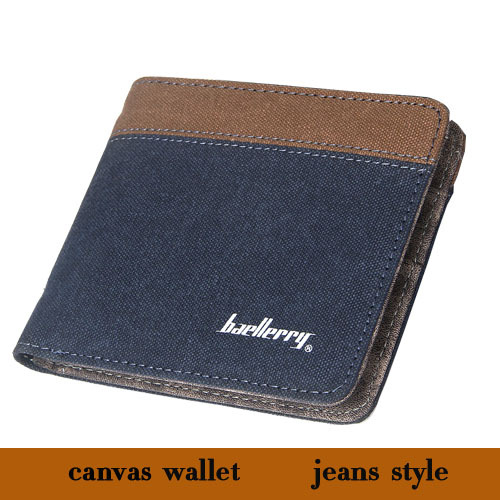 New Arrival Casual Men Canvas Wallets Short Design Card Holder Wallets For Men Jeans Style Fashion Canvas And PU Men Card Purse(China (Mainland))