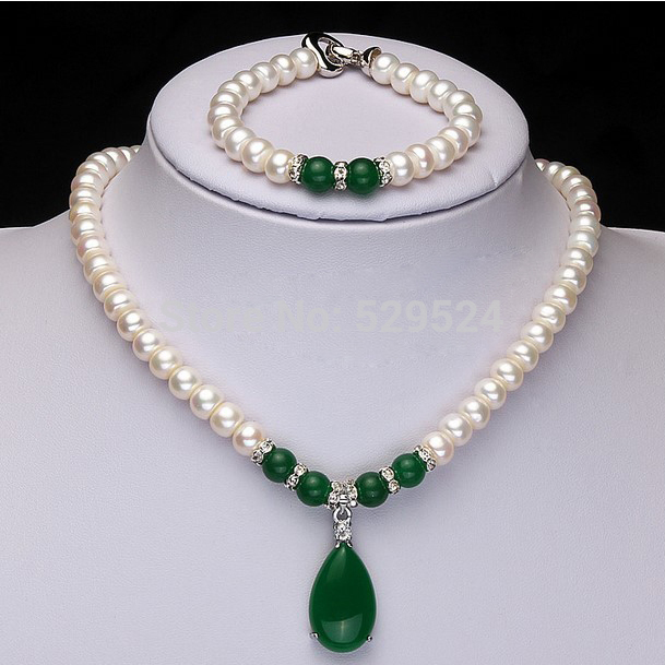 2015 Fashion Design Real Freshwater Pearl and Green Agate Jewelry Set  Womens Birthday Gift Wedding Jewelry Set<br><br>Aliexpress