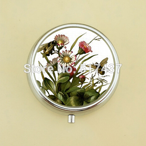 3PCS WholesaleWatercolor Bees Pill Box Mini Pill Box Metal Flowers Pocket Pill Case(China (Mainland))