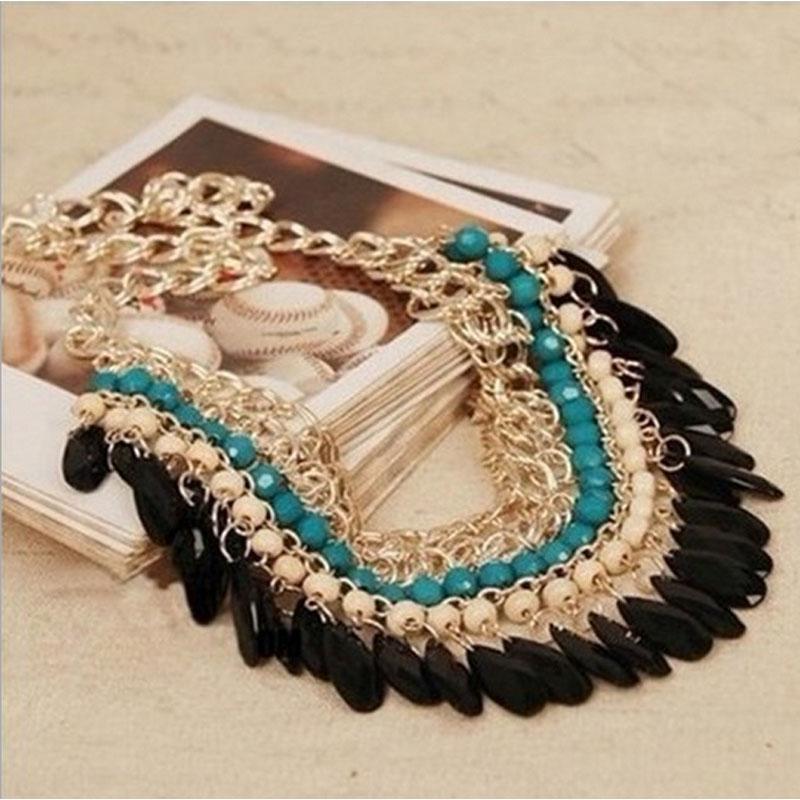 Bohemia Jewelry Necklace 2016 New Fashion Rhinestone Chain Collar Gold-color Necklace & Pendant Tassel Statement Necklace Women