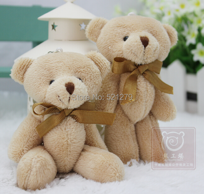 T108Free shipping 60pcs/lot Adorable Cubs mini Plush joint teddy bears Toys Holiday Gift Cubs High 12cm/light brown color(China (Mainland))