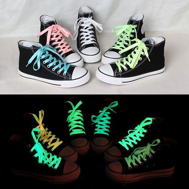 1pc 80cm Sport Luminous Shoelace Glow In The Dark Night Color Fluorescent Shoelace Athletic Sport Flat Shoe Laces Hot Selling