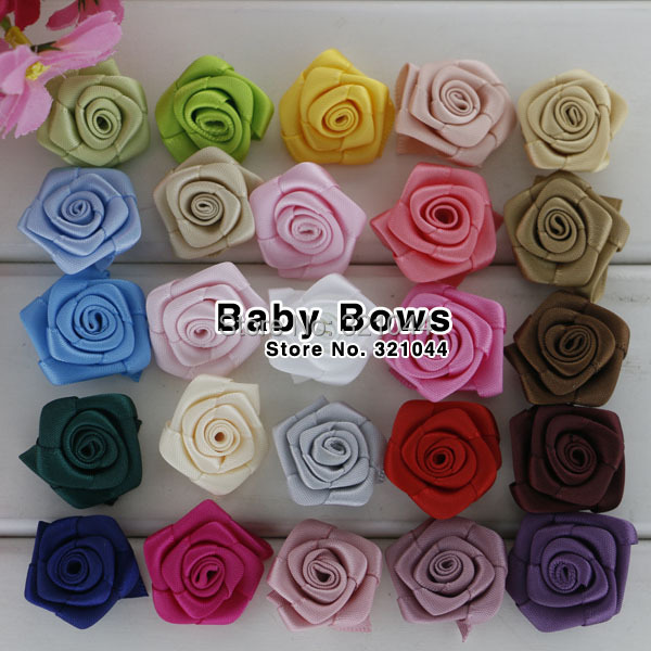 200pcs/lot 0.85''--1'' Mini Rolled Rosette Flower Satin Silk Flower For Baby Hair Accessories,Handmade Rose Flower Free Shipping(China (Mainland))