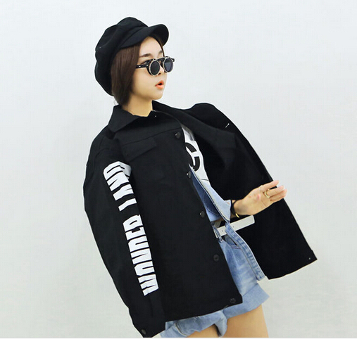 winter autumn spring jackets female loose plus size letters printed jackets coats ladies all-match style coats girls S848Одежда и ак�е��уары<br><br><br>Aliexpress