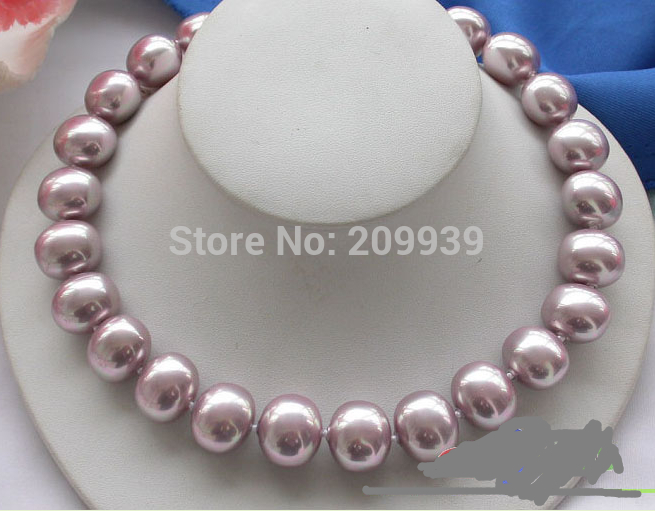 """Hot sell ->@@ AS2611 17"""" 19mm EEG LAVENDER SOUTH SEA SHELL PEARL NECKLACE -Top quality free shipping"""
